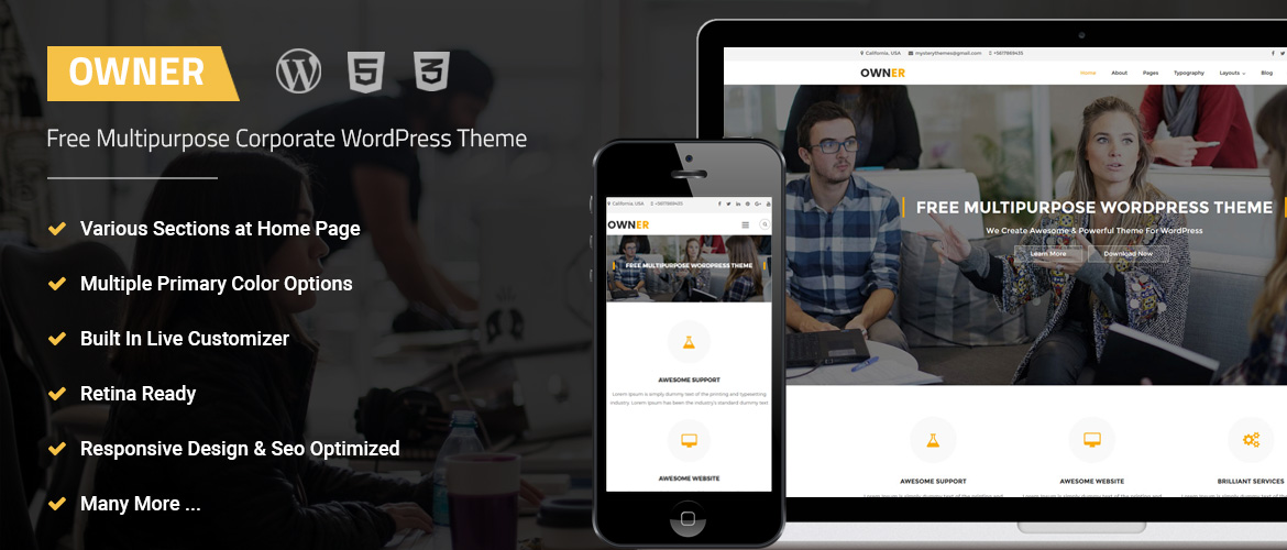 free multipurpose business wordpress theme owner