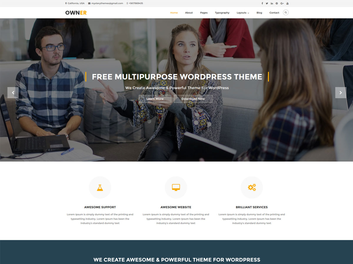 owner - best free responsive WordPress business themes