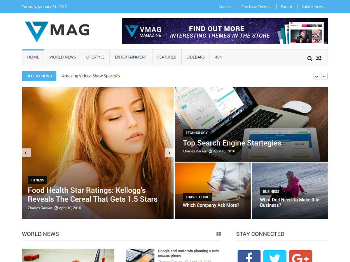 Google ventures theme - Vmag Is A Complete Free Wordpress Theme For Online Magazines Newspapers And Professional Blogs It Is A Flexible And Powerful Theme Which Provides A Lot