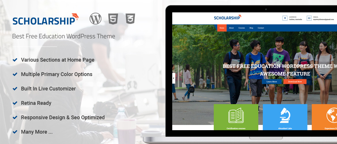 Best Free WordPress Education Theme – Scholarship