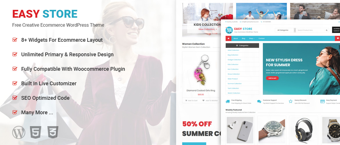 Free Creative E Commerce Wordpress Theme Easy Store Mystery Themes