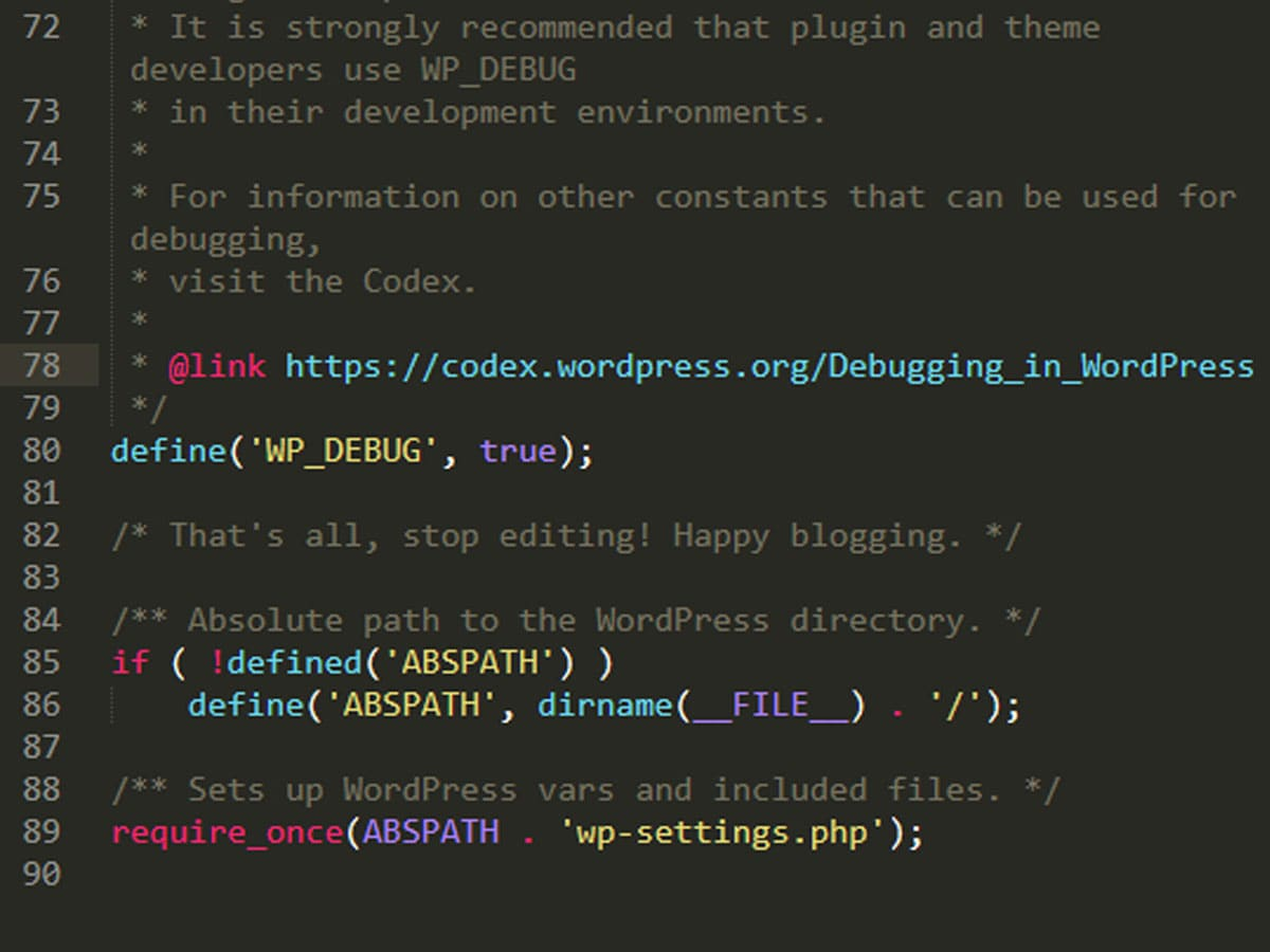 Turn on WordPress Debugging