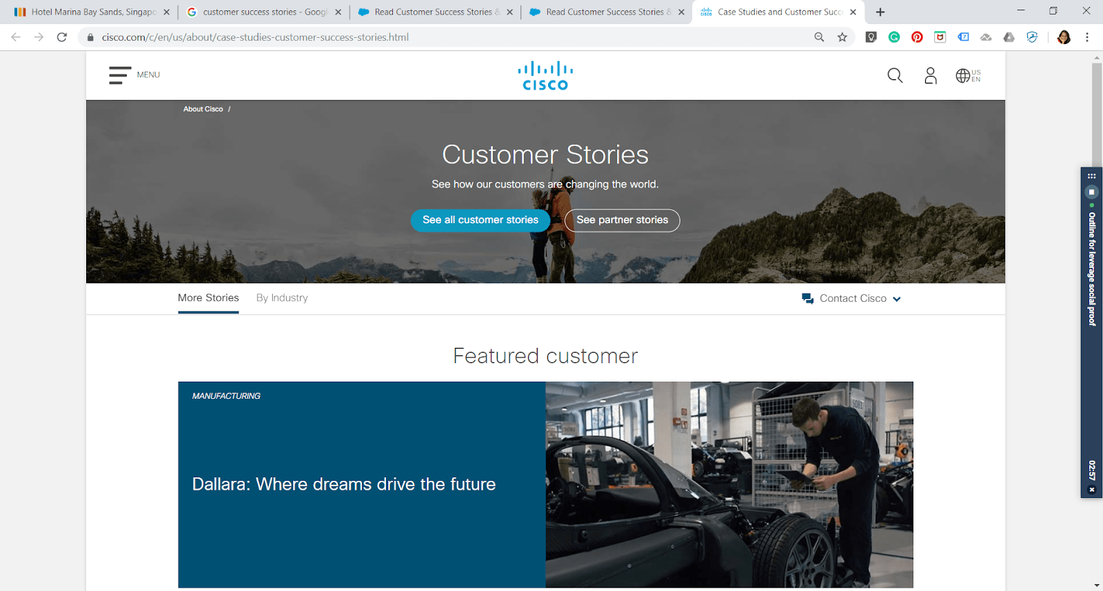 Cisco uses compelling customer success stories on their website