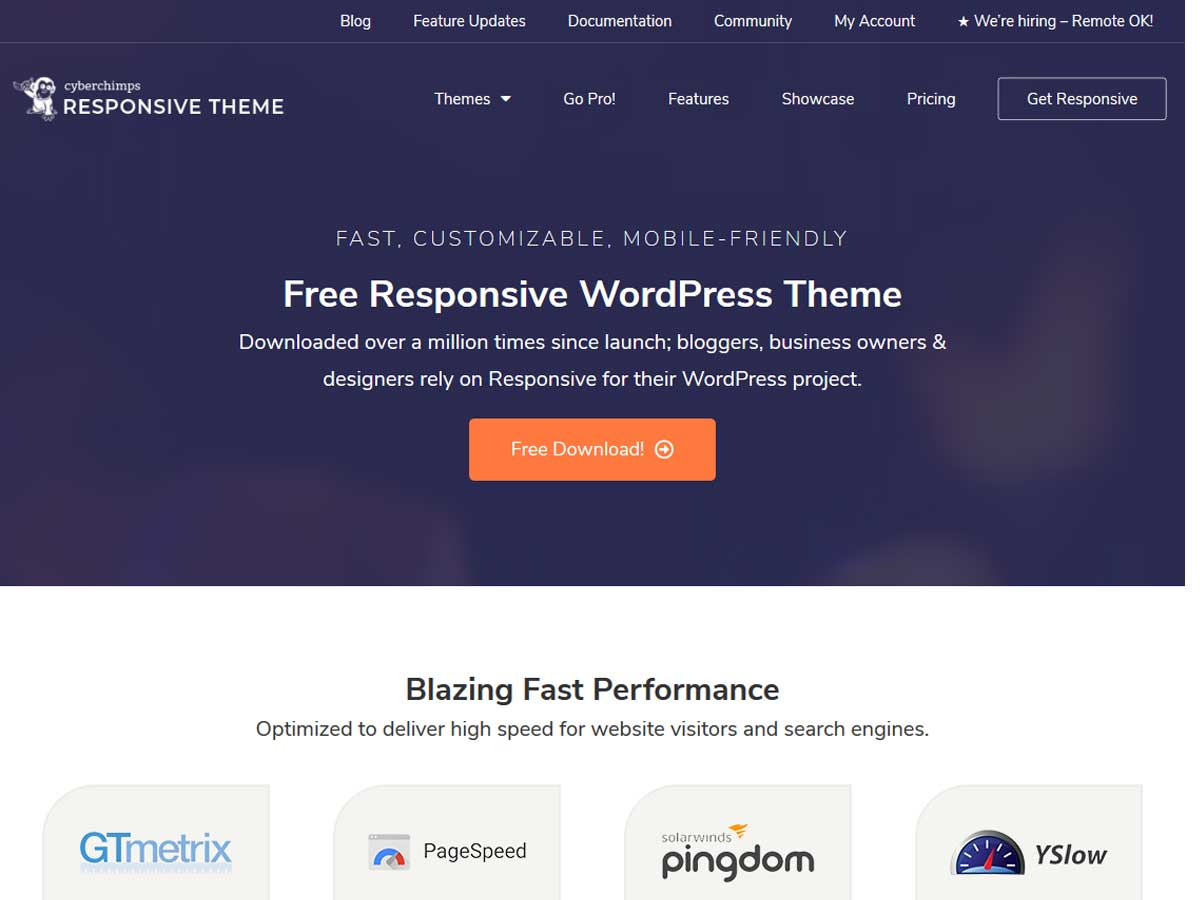 Responsive- free simple WordPress themes for beginners