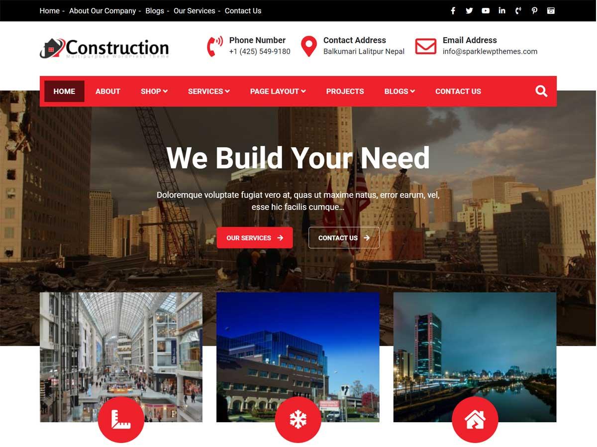 Construction light- construction company WordPress theme
